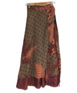 "Sari Wrap Skirt Reversible 36""L 46""W Brown Orange Leaves Two sides - $24.75"