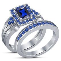 1.20Ct Emerald Cut Blue Sapphire Halo Engagement Wedding Ring Set White ... - $82.99