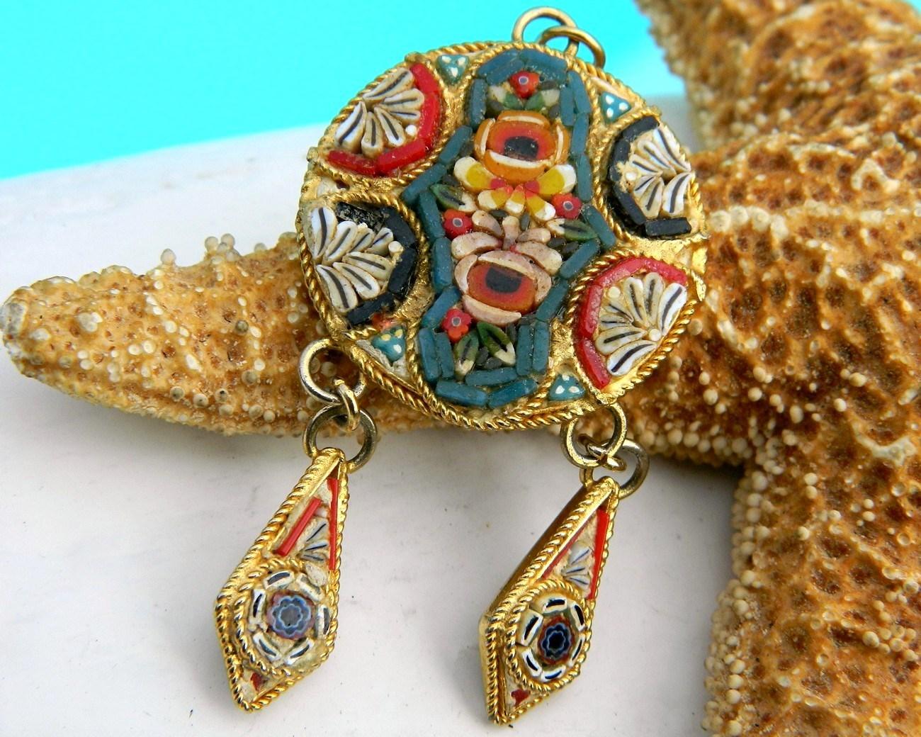 Vintage Micro Mosaic Italy Italian Pendant Dangles Flowers Tesserae