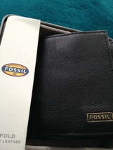 fossil trifold wallet black genuine leather with window image 10