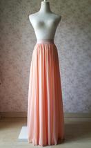 Coral Chiffon High Waist Full Maxi Skirt Coral Pink Wedding Chiffon Skirts image 5
