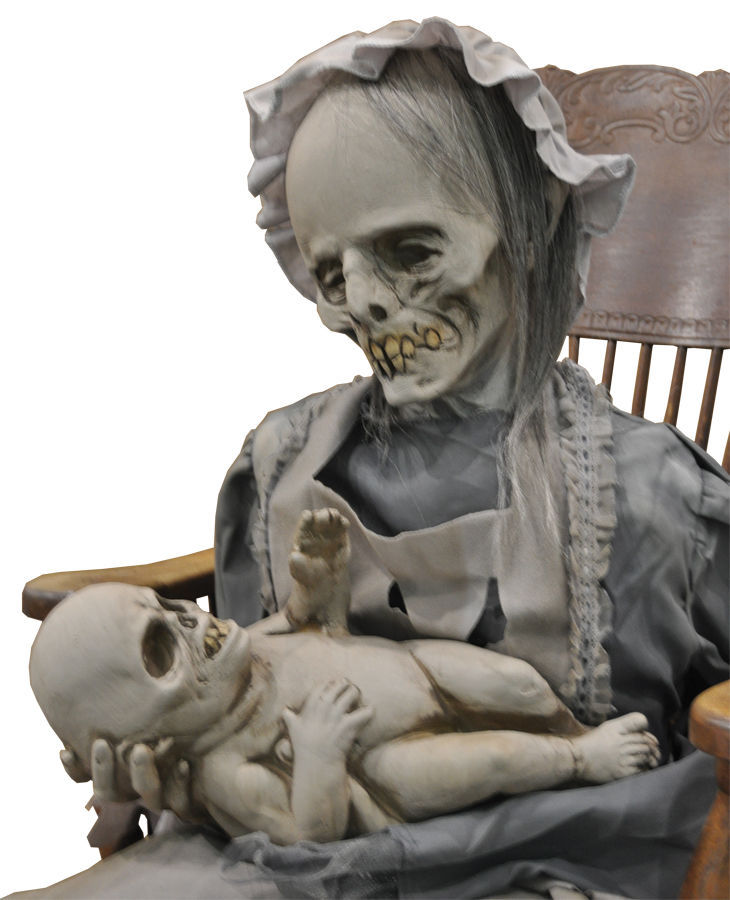Life Size Deluxe Animated Sound-LULLABY ZOMBIE MOTHER BABY-Halloween Horror Prop