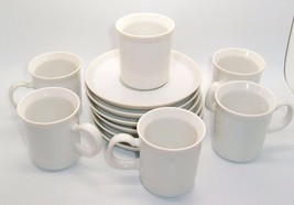 Set Of 6 VTG SMALL White TEA CUPS AND SAUCERS JAPAN  Mod shabby kitchen - $21.73
