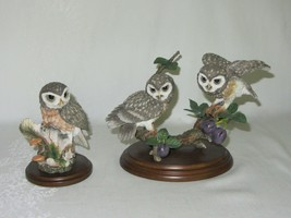 Country Artists Little Owl in Tree Hollow & Owl Pair w Plums Vtg Figurin... - $58.90