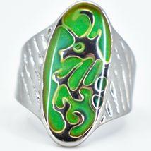 Silver Painted Oval Dragon Design Color Changing Contrasting Mood Ring image 5