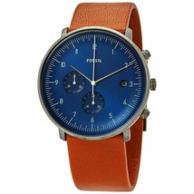 Fossil Mens FS5486 Chase Watch Brown Leather Strap Blue Dial Watch - $61.14
