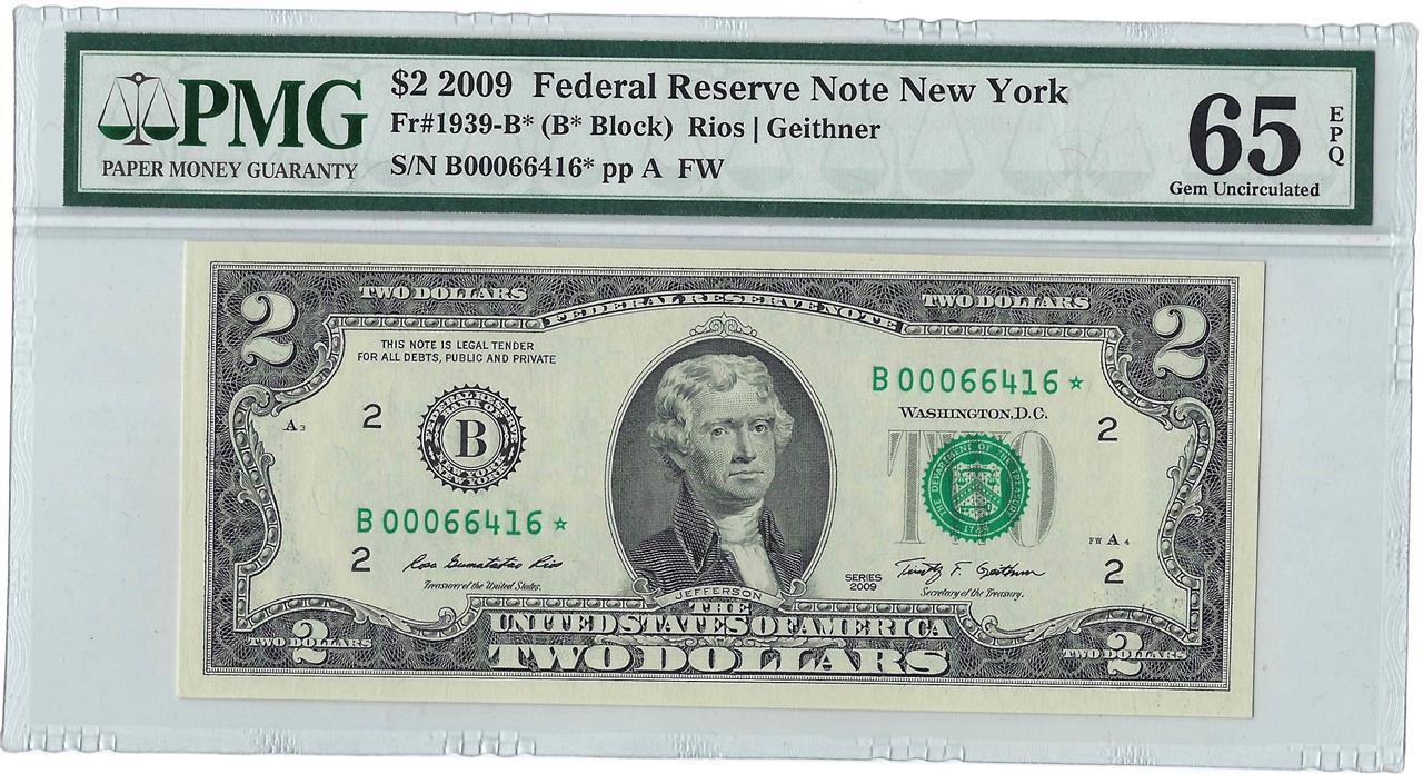 2009 $2 FRN **Star Note** New York District PMG 65 Gem Uncirculated EPQ