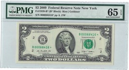2009 $2 FRN **Star Note** New York District PMG 65 Gem Uncirculated EPQ - $173.25