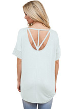 White Chic Relaxing Fit Pocket Front Hollow-out Blouse  - $13.70