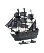 BLACK PIRATE SHIP MODEL Wooden Boat Coastal Nautical Decor - Fully Assem... - $27.70