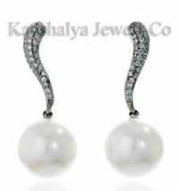 Victorian 1.32 ct Rose Cut Diamond Pearl Good Looking Cute Wedding Earrings - $229.08