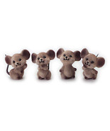 """DOLLHOUSE MINIATURES 1 Pc 1-1/2"""" Assorted Flocked Mouse #G2454 - $3.30"""