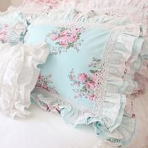 Blue Aqu Ruffle Lace Shabby Chic French Cottage Country Ruffle Pillow Sham - $35.24