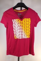 Nike Livestrong T Shirt Pink V Neck Dri Fit Loose Fit Sz S Lance Armstro... - $14.78