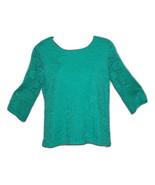Women's Alfani Petite Lace-Overlay Woven Top Bright Aquamarine PM - $18.25