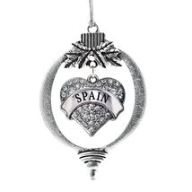 Inspired Silver Spain Pave Heart Holiday Christmas Tree Ornament With Crystal Rh - $14.69