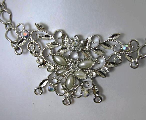 Bridal Bib necklace Silver tone Pearls AB Rhinestones  Wedding