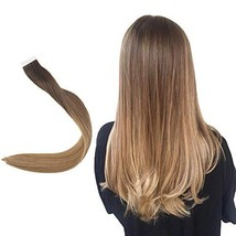 Easyouth 16inch Ombre Hair Extensions Tape in Real Hair Color 2 Darkest Brown Fa