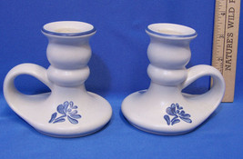 Pair Set 2 Pfaltzgraff Yorktowne Candlestick Holders Blue Flower Pattern... - $10.88