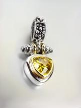 NEW Designer BALINESE Silver Caviar Dots Gold Yellow Citrine Crystal Pendant - $29.99
