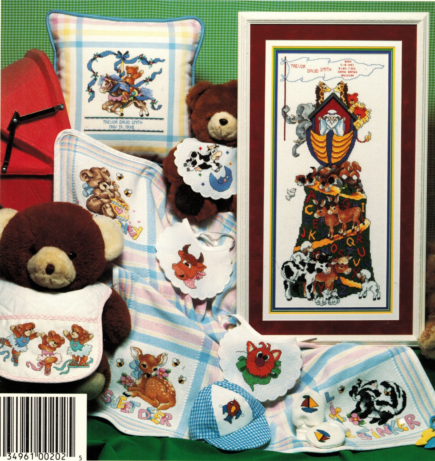 Primary image for Cross Stitch Noah's Ark Baby Sampler Bunny Deer Ballerina Bears Cat Fish Pattern