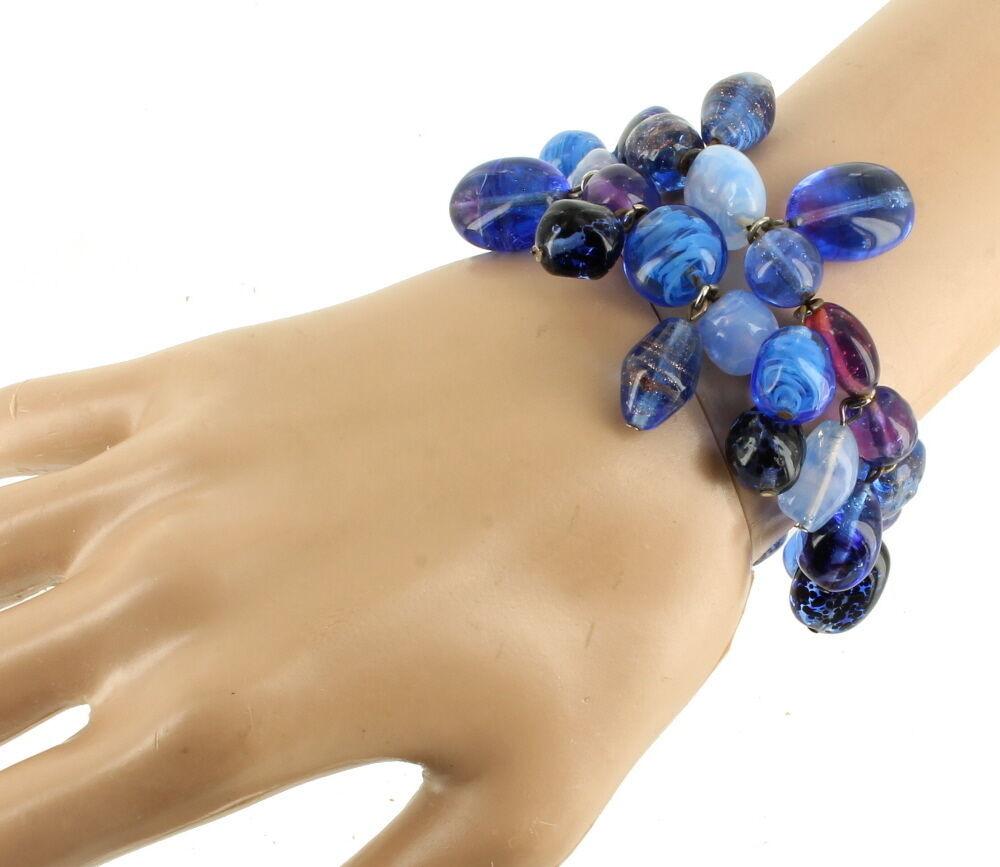 ANTIQUE DECO VENETIAN MURANO BLUE ART GLASS BEADS DANGLE COIL BRACELET NICE 1 SZ