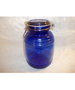 Cracker Barrel Style Blue Glass Cookie Jar Jug - $13.00