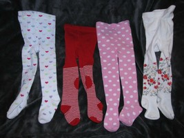 BABY GIRL 6-12 TIGHTS LOT LUVABLE FRIENDS OLD NAVY HEART STRIPE POLKA DO... - $22.76