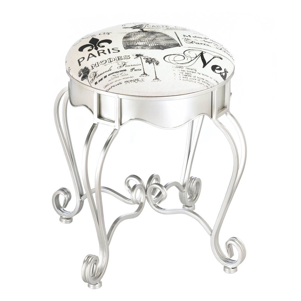 Silver Vanity Stool with Flourishes Canvas Cushion Pretty in Paris Theme  - $82.95