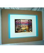Bracha Lavee WINDOW TO ZION (Jerusalem Israel) Triple Mat, Signed Art 12... - $24.40