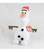 "Ty Sparkle Disney Frozen 6"" Tall Olaf With Santa Hat Beanie Baby - $10.88"