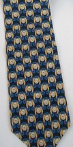 Geoffrey Beene Geometric Design Silk Neck Tie Gold Navy Black - $10.88