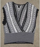 Lane Bryant Black White Metallic Crochet Dolman Top Sweater Size 14/16 1... - $7.69