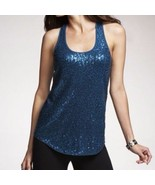 Express Women's Hi-Lo Hem Teal Sequin Front Tank Size Small - $29.50