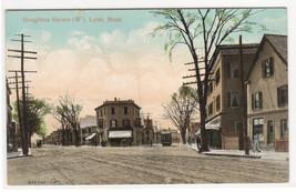 Houghton Square Street Scene Lynn Massachusetts 1910c postcard - $6.93