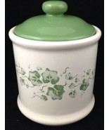 "Corelle Callaway Coffee Canister Lid & Seal Green Ivy 4 3/4"" to rim Jay ... - $29.64"