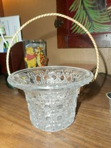 Avon Vintage Clear Glass Diamond Pattern Basket with Gold Rope Handle - $8.90