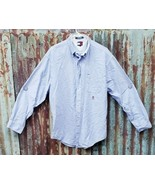 Tommy Hilfiger Men's Long Sleeve Shirt Button Down Blue Size L Embroider... - $18.70