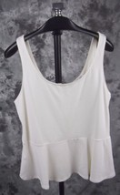 New Express Peplum Tank Top Large White Exposed Zipper - $18.99