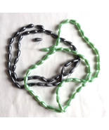 Black and Mint Tear Drop Glass Beads 17 x 8 mm 16 inch String Set of 2 - $6.81