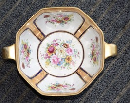 Noritake Serving Bowl Dish Double Gold Muscle Handles Hand Painted Roses Gold - $79.99