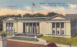 Worcester County Court House Massachusetts 1949 linen postcard - $3.91