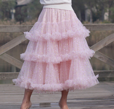 Pink Polka Dot Tulle Skirt Outfit Puffy Tiered Tulle Skirt Pink Holiday Outfit  image 1