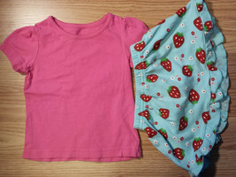 Girl's Size 9-12 M Months 2 Pc Pink Faded Glory Top & Strawberry Carter'... - $5.60