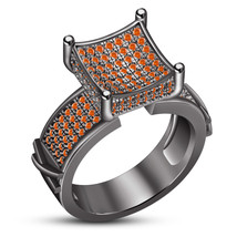 Round Cut Orange Sapphire Ladies Wedding Ring 14k Black Gold Plated 925 ... - $108.33
