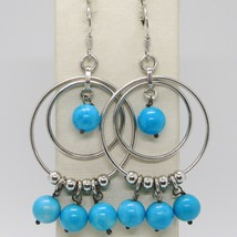 Silver Earrings 925 Tried and Tested with Jade Blue round and Circles Silver image 1
