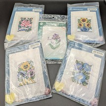 Lot of 5 Counted Cross Stitch Greeting Card Kits Floral VTG Design Works... - $29.95