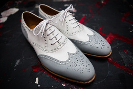 Handmade Men's White and Light Gray Wing Tip Brogues Dress Oxford Leather Shoes image 4