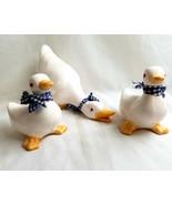 Ceramic Duck Family Mom & 2 Ducklings White Blue Bows Figurine - $29.96