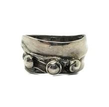 Designer Signed 925 Sterling Silver 10mm Modernist Abstract Ring Size 7.5 - $34.64